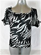 Buy WET SEAL womens XS PUFF SLEEVE BLACK WHITE RUFFLES SHEER TOP BLOUSE (M)P