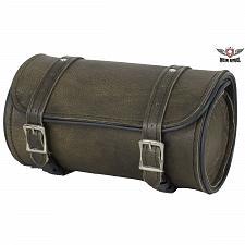 "Buy Leather Motorcycle Tool Bag 10"" Distressed Dark Brown Universal Front Back Fork"
