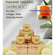 Buy 3 x 20g. MADAME ORGANIC WHITENING TREATMENT SET COLLAGEN+ARBUTIN+PEARL+SOAP