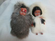 Buy Vintage Inuit Native Eskimo Boy n Girl Doll with Handmade Rabbit Fur 4.5 in