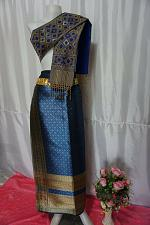 Buy Denim Blue Thai Lanna Synthetic Silk sinh Skirt Pha Bieng Tailor to your size