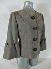Buy APT 9 womens Sz 8 3/4 BELL sleeve taupe FULLY LINED button down jacket (B4)