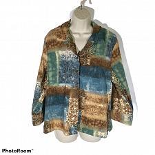 Buy Napa Valley Petites Women's Button Down Blouse Top Geometric Size Petite Large