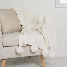 Buy Solid Knitted Throw Blankets Bedroom Sofa Couch Gray Ivory Accent Home Decor