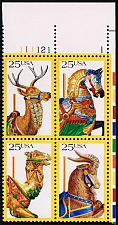 Buy US #2390-2393 Carousel Animals Plate Block of 4; MNH (5Stars) |USA2393apb4-01XVA