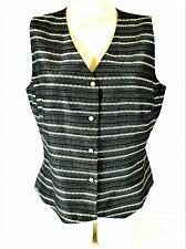 Buy KASPER womens Sz 12 gray black white RAYON blend button down lined vest (A8)P