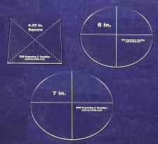 """Buy 3 Pc Set- Circle 7"""", Circle 6"""", Square 4.25"""" - Clear 1/8""""- Quilting Templates"""