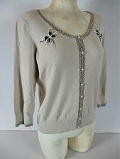 Buy NINE WEST womens XL 3/4 sleeve tan CROCHET TRIM lightweight knit sweater (B7)