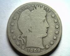 Buy 1908-S BARBER QUARTER DOLLAR ABOUT GOOD / GOOD AG/G NICE ORIGINAL COIN BOBS COIN