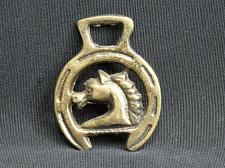 Buy SMALL Horse Brass Medallion Harness Horse Head Framed by Lucky Horseshoe VTG
