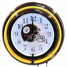 """Buy Steelers 13"""" Neon Wall Clock Sweep Movement Pull Chain Garage Man Cave Decor New"""