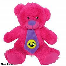 "Buy Nanco Pink Bear Plush with Emoji Necktie Stuffed Animal 10"""