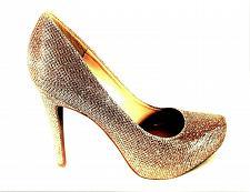 Buy Jessica Simpson Gold Glitter Slip On Dress Pumps Heels Shoes Women's 6 M (SW1)