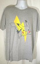 Buy Pokemon Men's T-Shirt 2XL Pikachu Lighting Bolt Gray Graphic Short Sleeve
