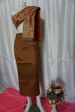 Buy Bronzse Gold Thai Lanna Synthetic Silk sinh Skirt Pha Bieng Tailor to your size