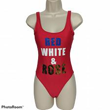 Buy NWT California Waves Metallic Cheeky One Piece Swimsuit XS Red White Rose