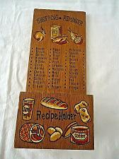 Buy Vintage Wood Shopping Reminder Wall Board and Recipe Box No Pegs