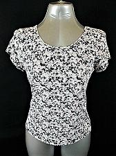 Buy MAP TO MARS womens XL S/S pink black LACE UP STRETCH TOP BLOUSE (O)P