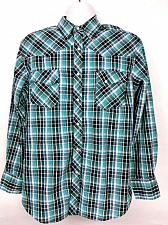 Buy Wrangler Men's Western Pearl Snap Shirt Large Plaid Long Sleeve Black Teal