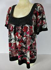 Buy GITANO womens Sz 14W S/S red black white BEADED BRAIDED neck stretch top (B2)