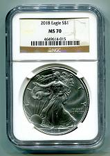 Buy 2018 AMERICAN SILVER EAGLE NGC MS70 CLASSIC BROWN LABEL AS SHOWN PREMIUM QUALITY