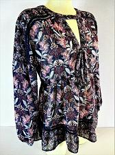 Buy SKYLAR & JADE womens Small L/S purple pink blue LACE UP FRONT floral top (P)P