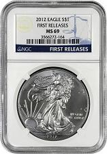 Buy 2012 AMERICAN SILVER EAGLE NGC MS69 *NEW FIRST RELEASES LABEL* PREMIUM QUALITY