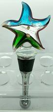 "Buy Blue Gray Green Glass Star Wine Stopper Cork 4.5"""