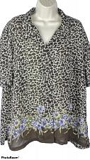 Buy Emma James Women's Blouse No Size Tag Shemi Sheer Leopard Print Floral Design