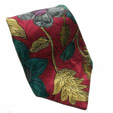Buy Hawkes and Keynes Red Gold Gray Teal Floral Print Novelty Silk Necktie
