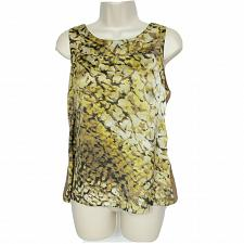 Buy Ann Taylor Womens Petites Tank Top Size MP Brown Gold Abstract Scoop Neck