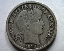Buy 1910 BARBER DIME VERY FINE VF NICE ORIGINAL COIN FROM BOBS COINS FAST SHIPMENT