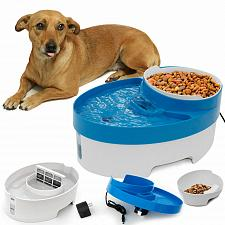 Buy Pet 3-In-1 Water Fountain Food Bowl Dish Feeder