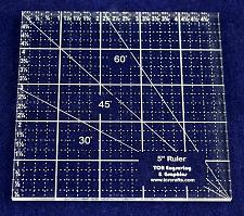 """Buy 5"""" Square Ruler. Acrylic 1/4"""" -Engraved on back side-Quilting/Sewing"""