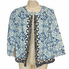 Buy Chicos Blazer Size 00 XS Blue White Geometric Fringe Boat Neck Long Sleeve