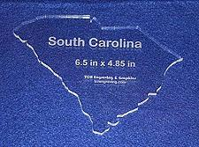 """Buy State of South Carolina Template 6.5"""" X 4.85"""" - Clear ~1/4"""" Thick Acrylic"""