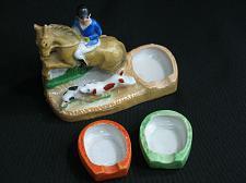 Buy Vintage Horse Rider Hunting Dogs Porcelain Figural Ashtray Snuffer Japan
