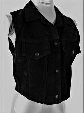 Buy MARIAH womens Sz S/M black SUEDE LEATHER 3 snap closure 2 FAUX POCKET vest (A5)P