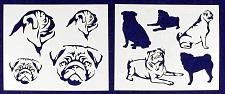 """Buy Pug Dog Stencils-Mylar 2 Pieces of 14 Mil 8"""" X 10"""" - Painting /Crafts/ Templates"""