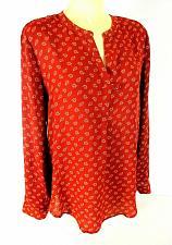 Buy Premise Studio womens Medium L/S brown white PAISLEY hi low TUNIC top (X)PMTD