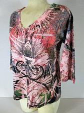 Buy LAS OLAS womens Medium 3/4 sleeve pink blue black RHINESTONE stretch top (G)