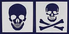"Buy 2 Piece Large Skull & Bones Stencils- 16"" x 16"" Painting/Crafts -Mylar 14 Mil"