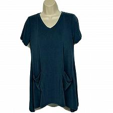 Buy LOGO by Lori Goldstein Washed Jersey Knit Top XS Slate Blue with Pockets V Neck