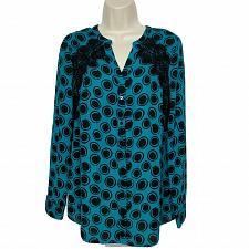 Buy NWT Worthington Button Up Blouse Top Sm Geometric Black Blue Fringe Shoulder