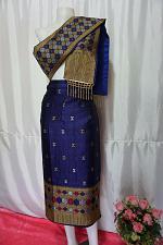 "Buy Blue Lao Laos Synthetic Silk sinh Wrap Skirt Pha Bieng for Songkran Waist 31"""