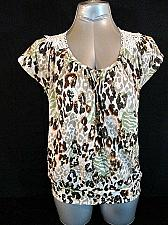 Buy BONGO womens Large ANIMAL PRINT CROCHET KNIT BACK V NECK TOP BLOUSE (K)P