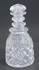 Buy Hand Cut glass faceted 3 ring neck decanter crosscut with mushroom stopper