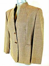 Buy Talbots womens Sz 12 petite L/S gold brown CHECKED button 100% WOOL jacket (B4)