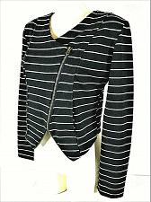 Buy CHANCE OR FATE womens Large L/S black white ASYMMETRICAL zip up STRETCH top (G)