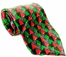 Buy Holidays Men's Dress Necktie 100% Silk Green Red Christmas Trees Holiday Novelty